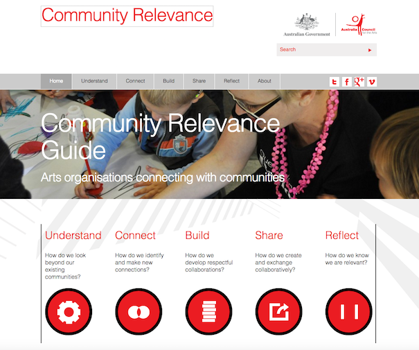 Community Relevance Guide landing page courtesy of the Australia Council for the Arts.